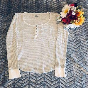 GAP Body Woman's Thermal Shirt Size S Gray/White